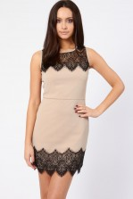 Lace & Beads Flicity Beige Dress