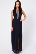 Lace & Beads Prima Navy Maxi Dress