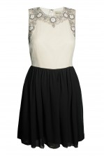 Lace & Beads Becky Cream & Black Dress