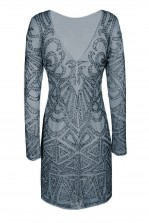 Lace & Beads Brooklyn Grey Embellished Dress