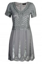 Lace & Beads Stacey Grey Embellished Dress