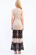 Lace & Beads Flicity Beige Maxi Dress