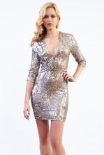TFNC Deep V Paris Gold Sequin Dress