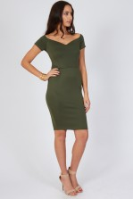 TFNC Jane Khaki Off Shoulder Midi Dress