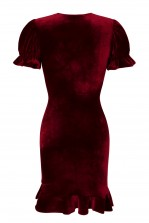 TFNC Edwina Crushed Velvet Burgundy Midi Dress