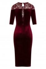 TFNC Anely Velvet Lace Burgundy Midi Dress