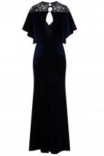 TFNC Diyana Velvet Navy Maxi Dress