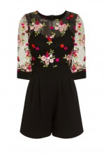 WalG Floral Black Playsuit