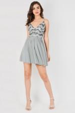Lace & Beads Amika Grey Mini Dress
