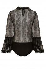Lace & Beads Curl Black Embellished Bodysuit