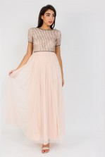 Lace & Beads Kansas Nude Maxi Dress