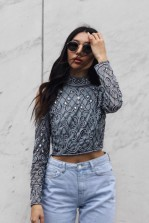 Lace & Beads Florence Blue Top