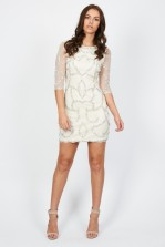 Lace & Beads Florida Cream Embellished Dress
