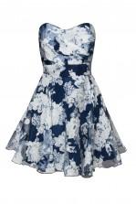 TFNC Tibi Blue Floral Bandeau Dress