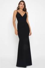 WalG Madelyn Thread Embellished Black Maxi Dress