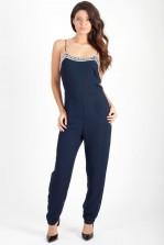 TFNC Lulu Navy Embellished Jumpsuit