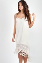 TFNC Ebbie Cream Fringed Midi Dress