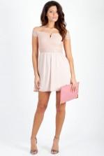 TFNC Bardot Pink Lace Off Shoulder Dress