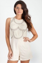 TFNC Daisy Cream Drop Embellished Playsuit