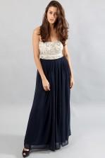 TFNC Amber Navy Contrast Embellished Maxi Dress