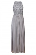 Lace & Beads Picasso Grey Embellished Maxi Dress