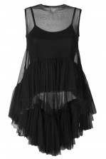 Lace & Beads Flamingo Black Sheer Top