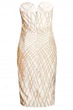 TFNC Halo Sequin Cream Midi Dress