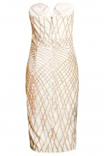 TFNC Halo Sequin Cream Midi Dress