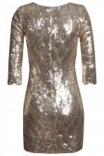 TFNC Paris Scallop Gold Sequin Dress