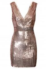 TFNC Olivia Rose Gold Sequin Dress