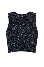 Lace & Beads Picasso Navy Sequin Top