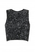 Lace & Beads Picasso Black Sequin Top