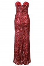 TFNC Gaynor Sequin Lace Red Maxi Dress