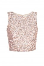 Lace & Beads Picasso Beige Sequin Top