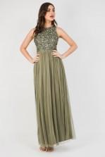 Lace & Beads Picasso Khaki Embellished Maxi Dress