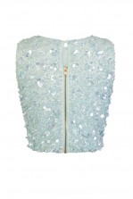 Lace & Beads Hazel Blue Sequin Top