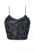 Lace & Beads Sandy Iridescent Black Sequin Top