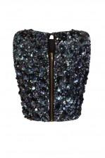 Lace & Beads Hazel Iridescent Black Sequin Top