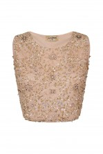 Lace & Beads Jupiter Cream Sequin Top
