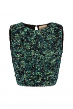 Lace & Beads Picasso Mermaid Green Sequin Top