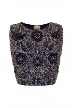 Lace & Beads Jupiter Navy Sequin Top