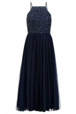 Lace & Beads Sprinkle Navy Midi Dress