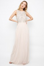 Lace & Beads Meiling Nude Maxi Dress