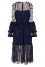 Lace & Beads Raven Navy Sheer Dress