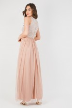 Lace & Beads Picasso Mink Embellished Maxi Dress