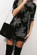 TFNC Paris Flower Black Dress
