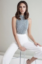 Lace & Beads Pearl Grey Top