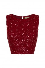 Lace & Beads Picasso Red Sequin Top