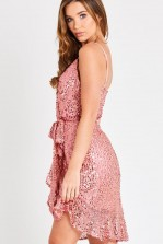 Skirt & Stiletto Ava Pink Strappy Sequin Mini Dress With Belt