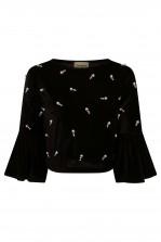 Lace & Beads Rosha Velvet Black Top